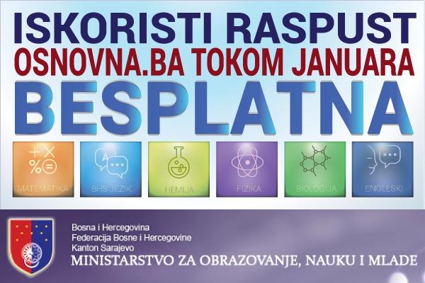Eduktativna platforma Osnovna.ba tokom zimskog raspusta besplatno dostupna u Kantonu Sarajevo
