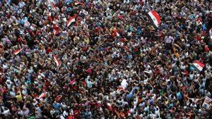 Egyptian anti-Mubarak protesters gather