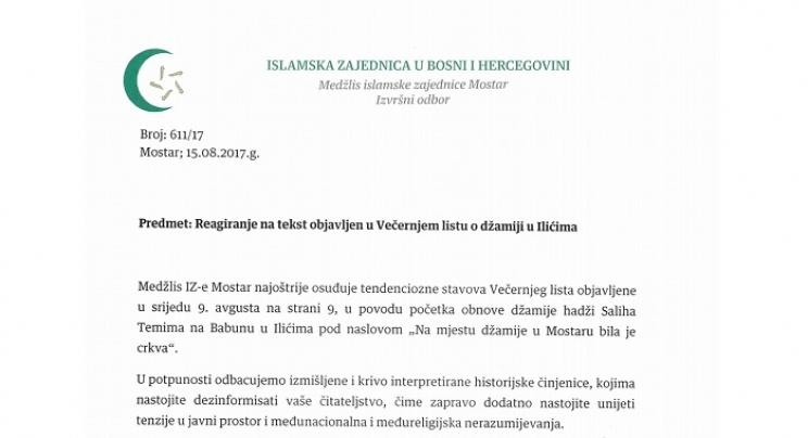 """Reagiranje Medžlisa Mostar na tekst """"Na mjestu džamije u Mostaru bila je crkva"""""""