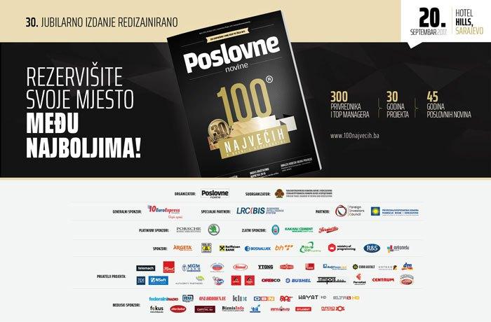 100 najvećih u privredi BiH: Poslovne novine 30 godina nagrađuju uspjeh