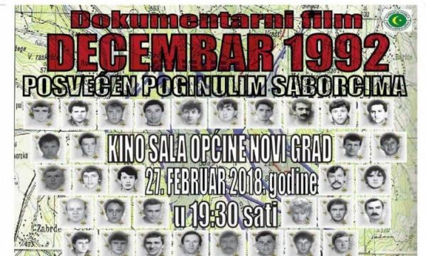 Premijera u Općini Novi Grad: Decembar 1992. – film o 75 poginulih sarajevskih boraca
