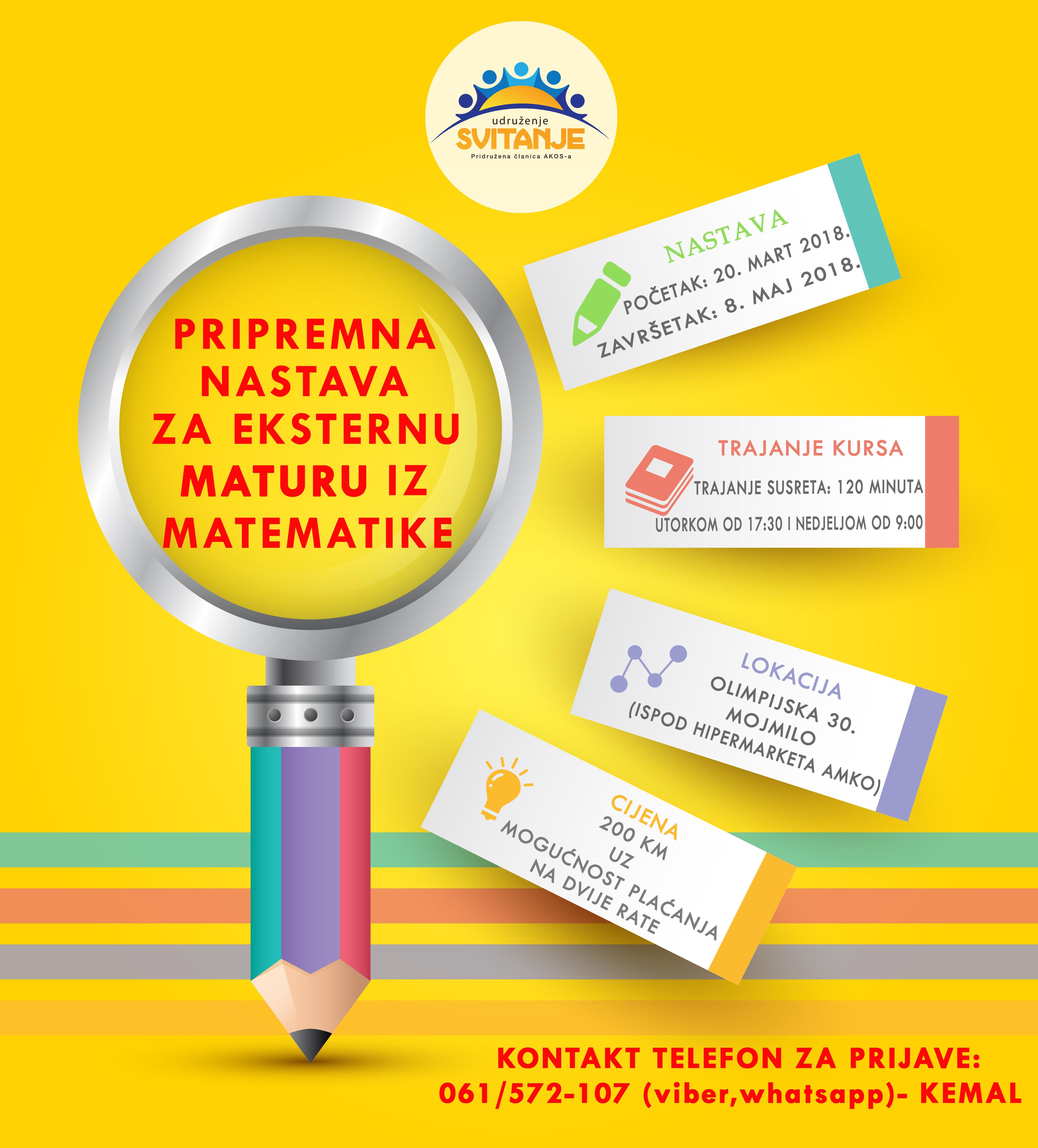 Udruženje Svitanje organizuje pripremnu nastavu za eksternu maturu iz matematike