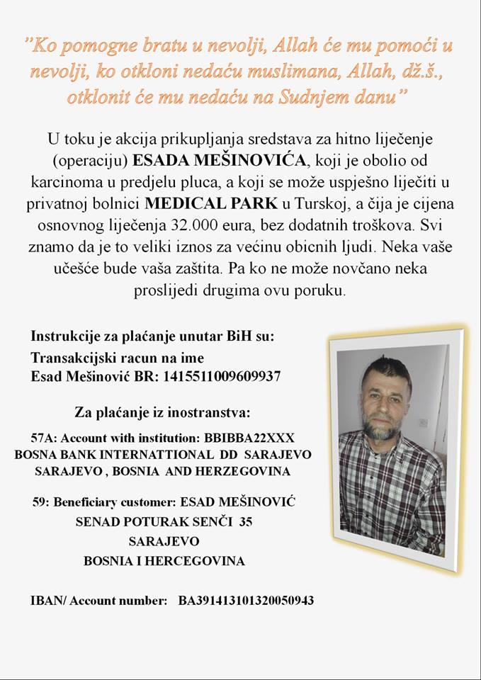 Apel za pomoć: Esadu Mešinoviću potrebno 32 000 EUR za operaciju u Turskoj