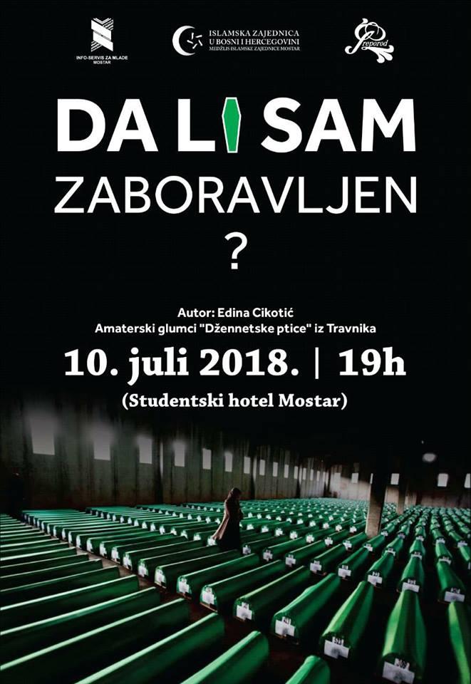 """Monodrama """"Da li sam zaboravljen?"""" sutra od 19 sati u Studentskom hotelu Mostar"""